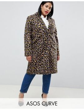 Asos Design Curve Coat In Leopard by Asos Design