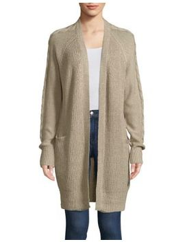 Cable Sleeve Open Cardigan by Design Lab Lord & Taylor
