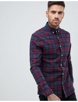 Asos Design Skinny Check Shirt In Navy & Burgundy by Asos Design