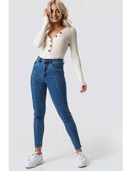 Highwaist Skinny Panel Jeans Mid Blue by Na Kd