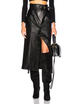 Button Front Leather Midi Skirt by Alberta Ferretti