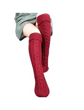 Koly® Women Girls Step Foot Knit Woolen Yarn Over Knee Stocking High Socks by Koly