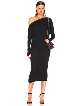 Rib Exposed Shoulder Midi Dress by Enza Costa