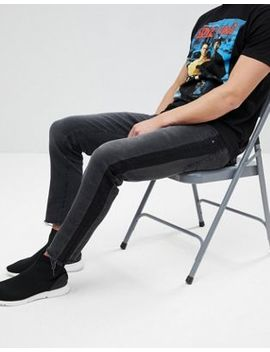 Asos Design Slim Jeans In Washed Black With Side Stripe by Asos