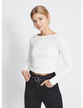 Long Sleeve Diamante Ribbed T Shirt by Miss Selfridge