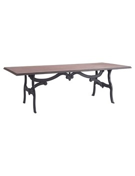 "Romantic Ornate Metal 94"" Rectangular Dining Table   Distressed Natural   Zm Home by Zm Home"