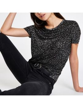 Grey Metallic Leopard Print T Shirt by River Island