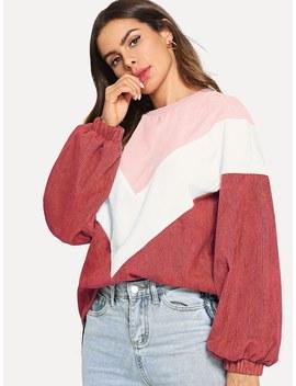 Cut And Sew Chevron Corduroy Sweatshirt by Shein