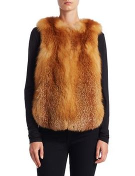 Feathered Fox Fur Vest by The Fur Salon