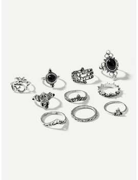 Hand & Gemstone Ring Set 10pcs by Sheinside