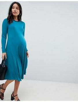 Asos Design Maternity Midi Swing Dress With Long Sleeves In Slinky Crepe by Asos Design