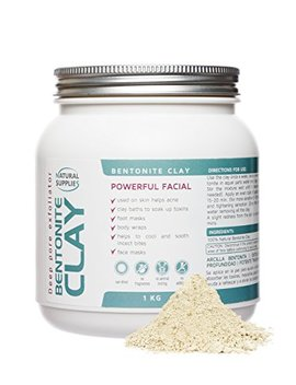 Bentonite Clay 1kg Aztec Indian Healing Clay Deep Pore Cleansing 100 Percents Pure Bentonite Clay | Deep Skin Pore Cleansing, Detoxifying And Revitalization. (1 Kg) by Natural Supplies