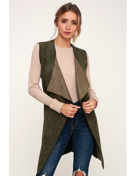 Vest With The Best Olive Green Suede Vest by Lulus