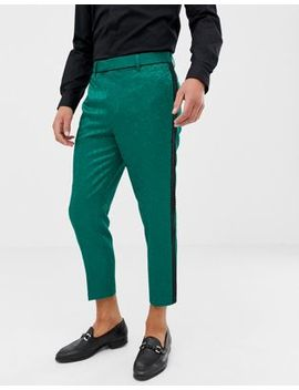 Asos Edition Tapered Smart Pants In Green Jacquard by Asos Edition