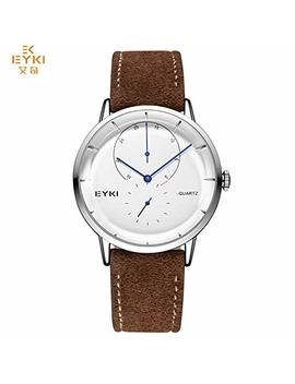 Eyki Brand Luxury Waterproof Genuine Leather Quartz Watch Classic Independent Seconds Dial Fashion Casual Watches by Eyki