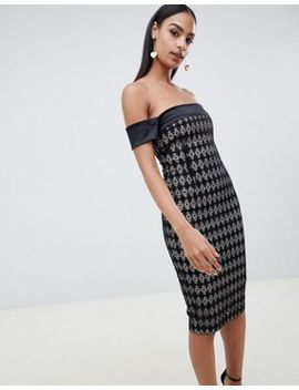 Vesper Grid Print Off The Shoulder Pencil Dress by Vesper
