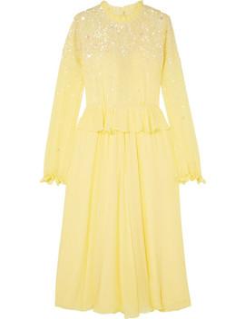 Gala Ruffled Sequin Embellished Chiffon Midi Dress by Stine Goya