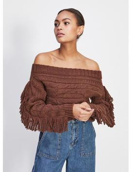 Chocolate Fringe Cable Bardot Knitted Jumper by Miss Selfridge