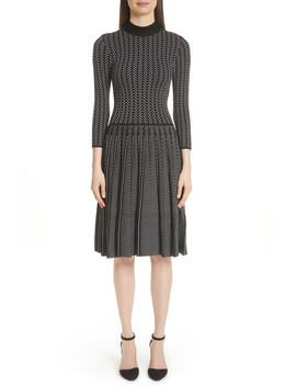 Chevron Knit Fit & Flare Dress by Emporio Armani