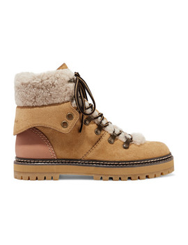 Shearling Trimmed Suede And Leather Ankle Boots by See By Chloé