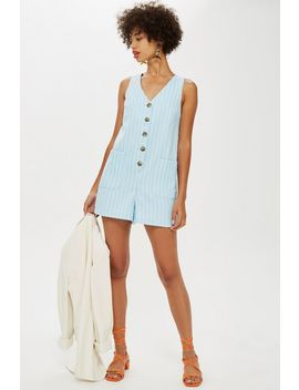 Linen Striped Romper by Topshop