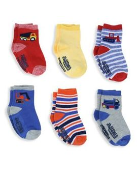 Baby Boy's Six Pack Tough Trucks Crew Socks by Capelli New York