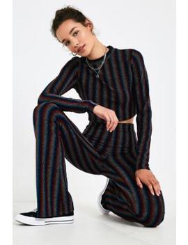 Uo Rainbow Glitter Stripe Long Sleeve Crop Top by Urban Outfitters