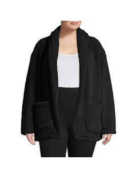 Plus Open Front Teddy Coat by Lord & Taylor