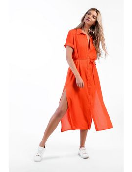 **Button Belted Midi Shirt Dress By Glamorous Petites by Topshop