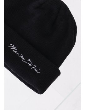 Italic Branded Beanie Hat   Black by Maniere De Voir