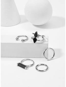 Bar Detail Ring Set 5pcs by Sheinside