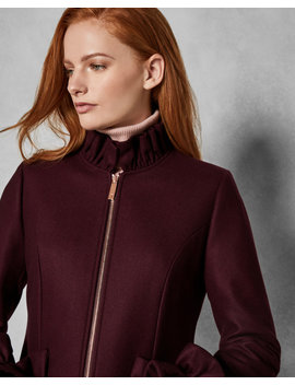 Deep Ruffle Detail Wool Coat by Ted Baker