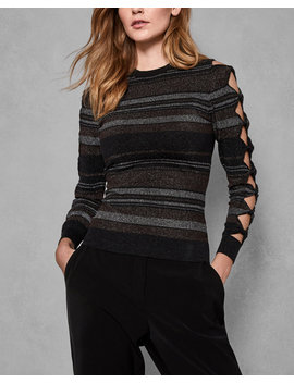 Bow Sleeve Striped Jumper by Ted Baker