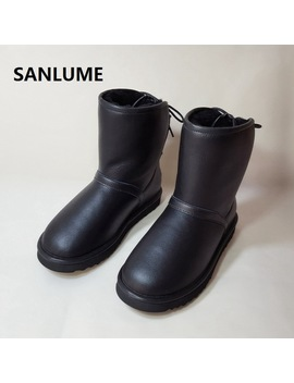 Sanlume Women Winter Sheepskin Leather Snow Boots 100 Percents Real Sheep Fur Boots Black Gray Waterproof Boots Size 41 by Sanlume