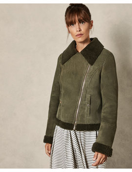 Shearling Biker Jacket by Ted Baker