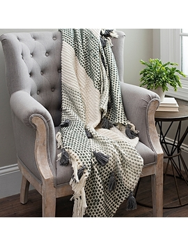 Cotton Ribbon Throw With Charcoal Tassels by Kirkland's
