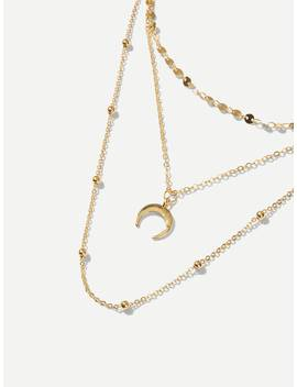 Disc & Moon Layered Chain Necklace by Sheinside