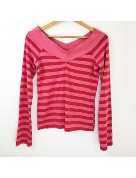 Ella Moss Womens Top Striped Pink Red Size Medium Off The Shoulder Shirt V Neck by Ella Moss