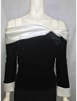 Cachet Top Size 6 Black Velvet Off Shoulder Top Blouse White Trim Evening Vtg by Cachet