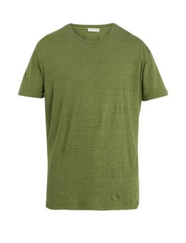 Crew Neck Linen Jersey T Shirt by Etro