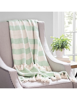 Seafoam Stripe Woven Tassel Throw by Kirkland's