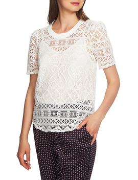 Puff Sleeve Lace Overlay Top by 1.State