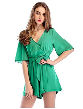 Moxeay Womens Teens Chiffon Short Sleeve Wrap Front V Neck Rompers Jumpsuit by Moxeay