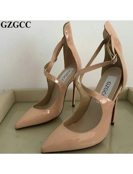 Ladies Nude Leather Cross Strap Ankle High Heels Pointed Toe Shoes Sexy Thin Pumps Female by Gzgcc