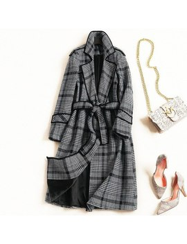 Women Elegant Fashion Blue Green Plaid Office Lady Woolen Coat Sashes Winter Outerwear New 2018 by Cocochoose