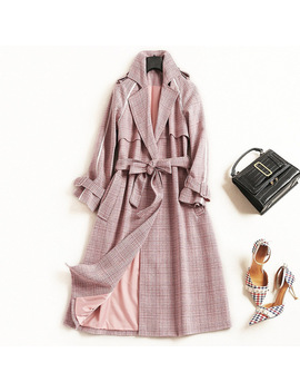 Women Fashion Elegant Tweed Long Coat Sashes Plaid Coats Outerwear New 2018 Autumn Winter Pink Khaki Office by Cocochoose
