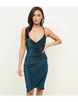 Qed Teal Glitter Wrap Bodycon Dress by New Look