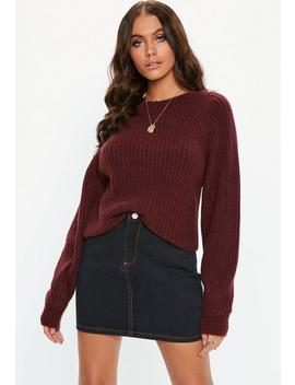 Burgundy Fluffy Ribbed Cropped Knitted Jumper by Missguided