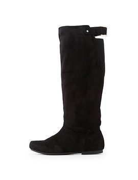 Faux Suede Riding Boots by Charlotte Russe