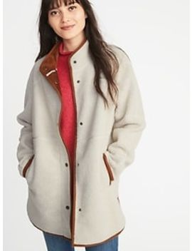 Long Sherpa Faux Suede Lined Coat For Women by Old Navy